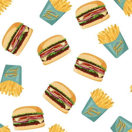 French fries and burger background. Fast food vector seamless pattern.
