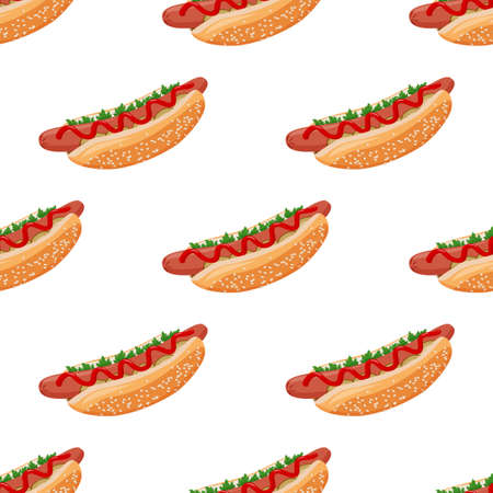 Hot dog seamless pattern. Fast food colorful vector background.
