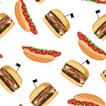 Hot dog and burger seamless pattern. Fast food colorful background.