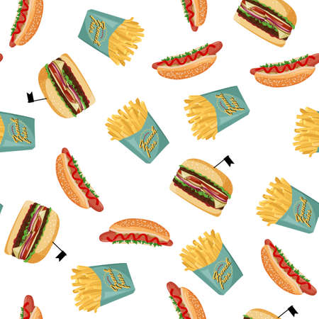 Hot dog, french fries, and burger seamless pattern. Fast food colorful background.
