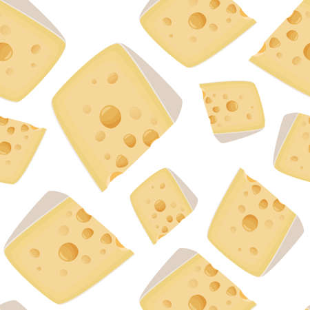 The large piece of Maasdam cheese background. Food seamless pattern.