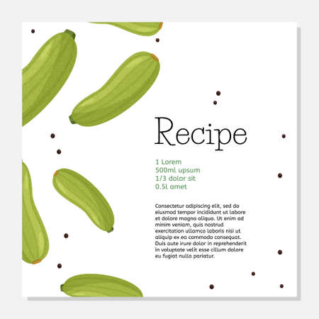 Green squash recipe card template. Simple design for cook book or article.