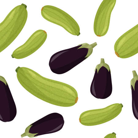 Green squash and eggplant seamless pattern. Fresh plants background. 矢量图像