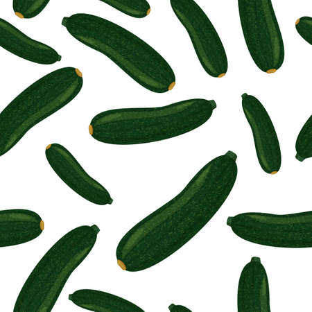 Zucchini vector background. Realistic plants seamless pattern.