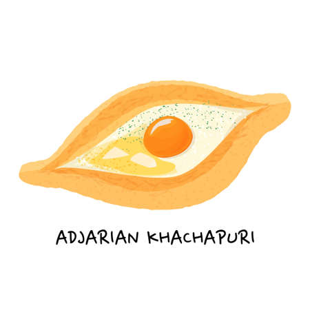 Traditional ajarian and georgian dish khachapuri. Baked bread filled with cheese, butter and egg isolated on white background. 矢量图像