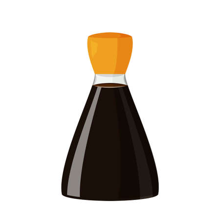 Bottle of soy sauce isolated on white background. Vector realistic illustration of Japanese product.