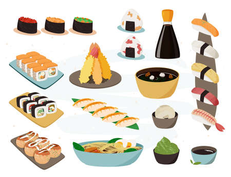 Japanese food collection. Vector set of realistic illustrations.Traditional Japan dishes.