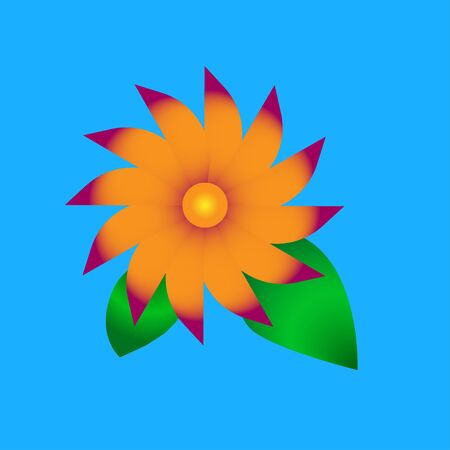 Simple flower on a blue background