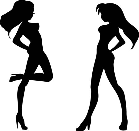 Monochrome silhouettes of graceful slender young girls in shoes on a hairpin  Vector
