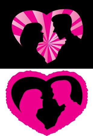 Silhouette of the man and woman in love  Vector