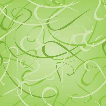 スムーズに湾曲したラインと緑シームレスなベクター パターン