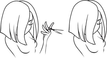 beauty shop: Dibujo de la ni�a hermosa que sostiene las tijeras El concepto es la tienda de belleza o peluquer�a Vectores