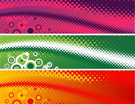 ハーフトーン スタイル 4: 1 の比率で、3 つの変形のベクトル旗