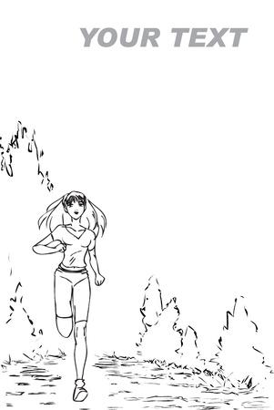 calisthenics: El bosquejo blanco y negro con la ni�a que se ejecuta en el parque de tama�o folletos Vectores