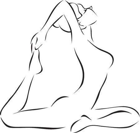 harmonous: Symbolical monochrome image of yoga  Illustration