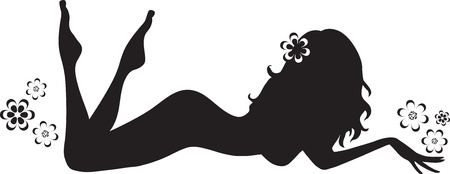 Monochrome silhouette of the magnificent sexy girl  Illustration