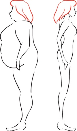 Vector monochrome image with the woman until and after slimming. Concept is weightloss   Vector