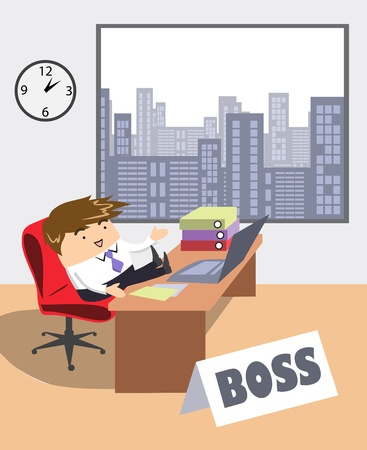 managing:  young businessman at office  Illustration