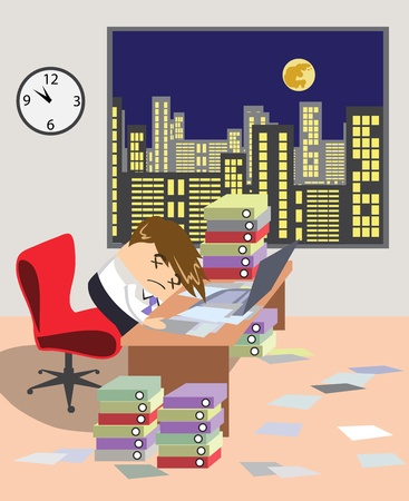workaholic: young worker at the office is working like a dog  Illustration