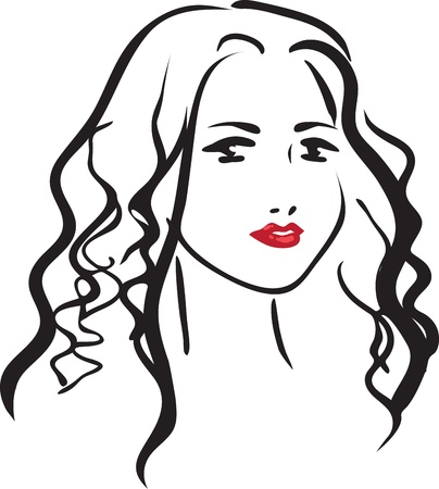 female likeness: One-color monochromatic vector drawing with the beautiful young girl with a curly hair
