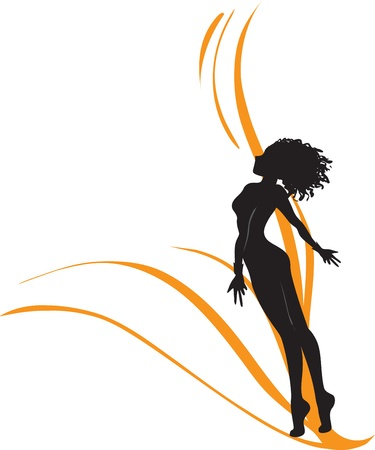 rapidity: One-color monochromatic vector drawing with silhouette of the beautiful young girl which aspires to the sky