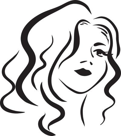 fascinação: Imagem com retrato da rapariga bonita, monocromático Ilustração