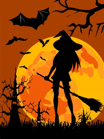 Halloween theme - wallpaper with silhouettes of witch, moon, halloween  trees