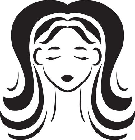 豊かな髪を持つ美しい少女のベクトル モノクロの象徴的な縦アン顔  イラスト・ベクター素材