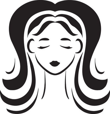 Vector monochrome symbolical portrait en face of young beautiful girl with luxuriant hair
