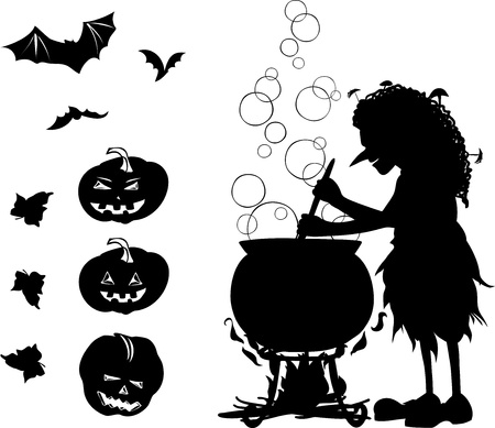 witchery: Halloween black one-colour cartoon set with silhouette of old witch which cook something in her cauldron,  silhouettes of 3 bats and 3 pumpkins. All objects are isolated  Illustration