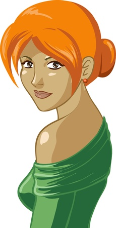 female likeness: Image of pretty red-haired woman which  turns around back and looks at the camera