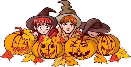 Children in fancy halloween dress sit behind pumpkins and watch carefully Vectores