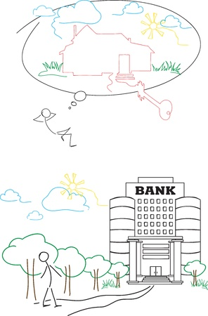 The person dreams about house and decides to take the credit in bank to execute the dream.  Vector picture, Simply for redacting
