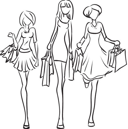 Vector picture with three girls going shopping
