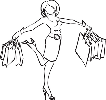 Vector monochrome picture with joyful woman after shopping with a lot of packs Stock Vector - 22644882