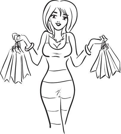 ショッピングのテーマです。カメラを見て、彼女の購入を示す女性とベクトル画像