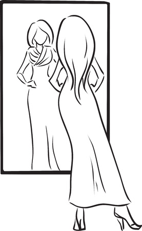 Vector monochromatic picture with young woman trying dress, looking at mirror