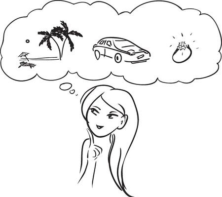 """Vector afbeelding. Thema 'Wat doet vrouw wil? """" Stock Illustratie"""