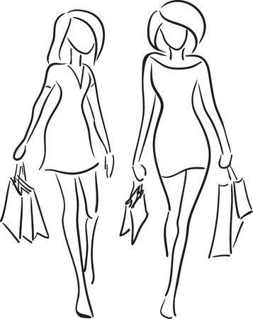 İki kız alışverişe gitmek. Vektör monokrom resim.