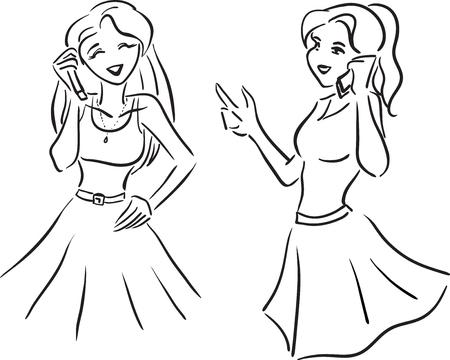 Vector afbeelding met twee meisjes praten via de telefoon
