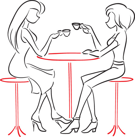 Vector picture with two women sitting at a cafe and drink coffee  Vector
