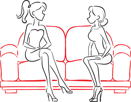 The vector image of two girlfriends talking and sitting on a soft red sofa