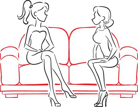 konuşurken ve yumuşak bir kırmızı koltukta oturan iki kız vektör görüntü Illustration