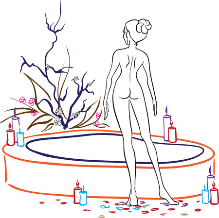 Beautiful naked slender woman is going to take a bathtub in Spa salon. Vector picture  Vector