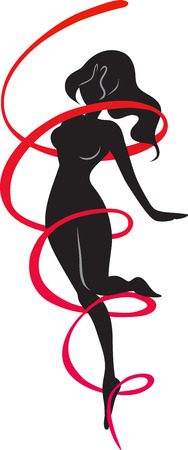tiptoe: The silhouette of slender thin woman surrounded in a red ribbon dances. Girl stands on tiptoe on one leg. Vector picture.