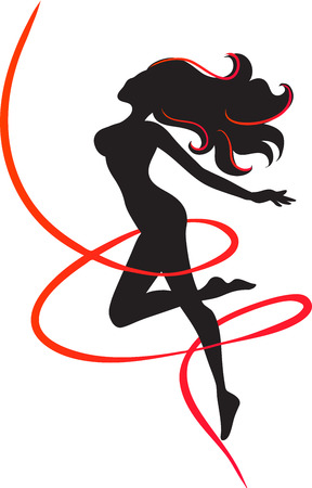 svelte: The slender girl surrounded in a red ribbon. Symbol of slenderness. Black silhouette. Vector image.