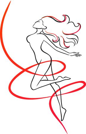 The slender girl surrounded in a red ribbon. Symbol of slenderness. Vector image.  Illustration