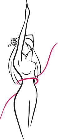 The waist of slender girl surrounded in a red thin ribbon. Girl with long hair raises right hand . Vector image