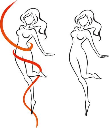 赤いリボンの踊りに囲まれた細い女の子。女の子は 1 本の足のつま先で立っています。ベクトル画像