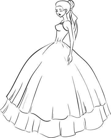 Beautiful bride in wedding dress Vector